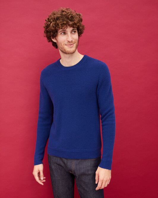 Ribbed crew neck pullover - Royal