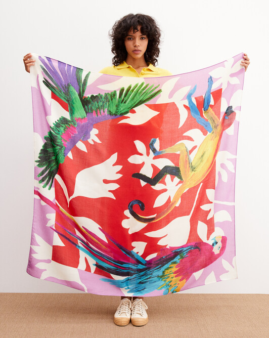 Monkey and parrot printed square scarf 120cm x 120cm - Multicoloured
