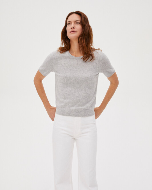 Classic short-sleeved crew neck sweater - Frost grey