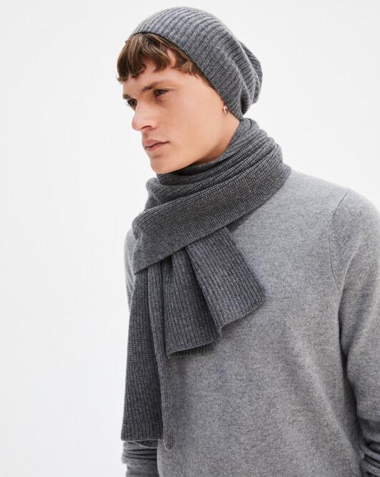 Half cardigan rib scarf 170 x 30 cm - College grey