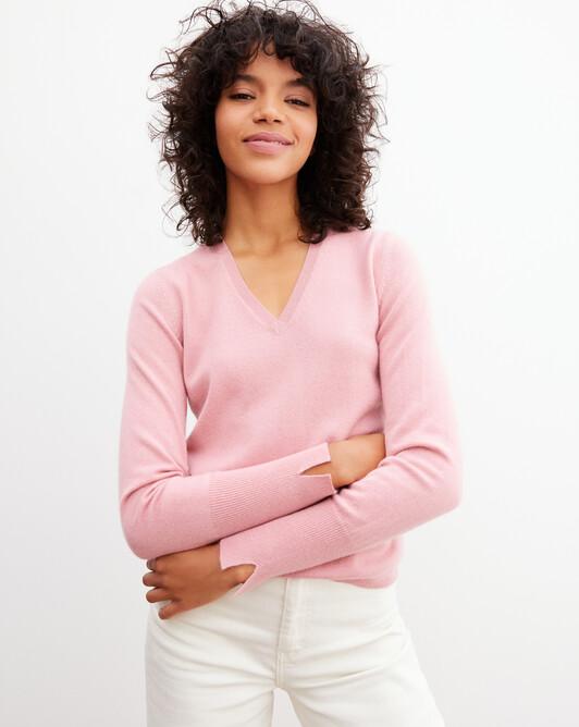 Fitted V-neck pullover - Sorbet
