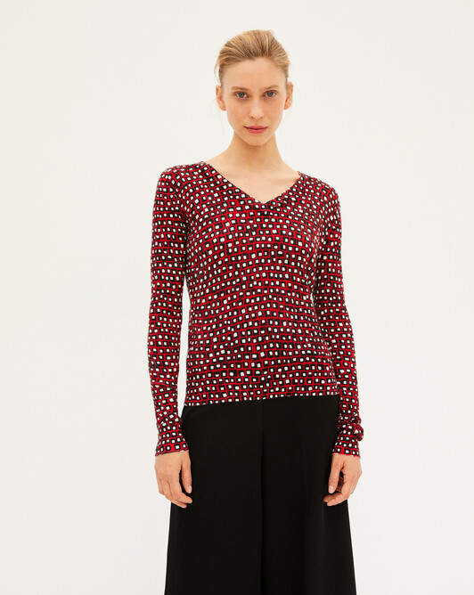 Mini graphic print V-neck sweater - Ruby red