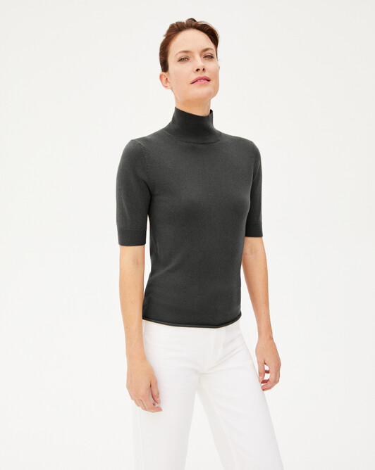 Short-sleeved roll-neck - Charcoal grey