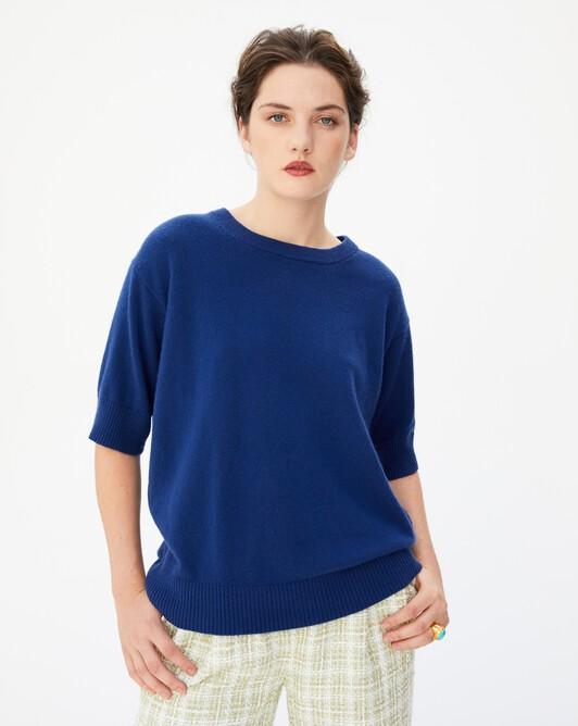 Contemporary short-sleeved maxi crew neck pullover - Royal