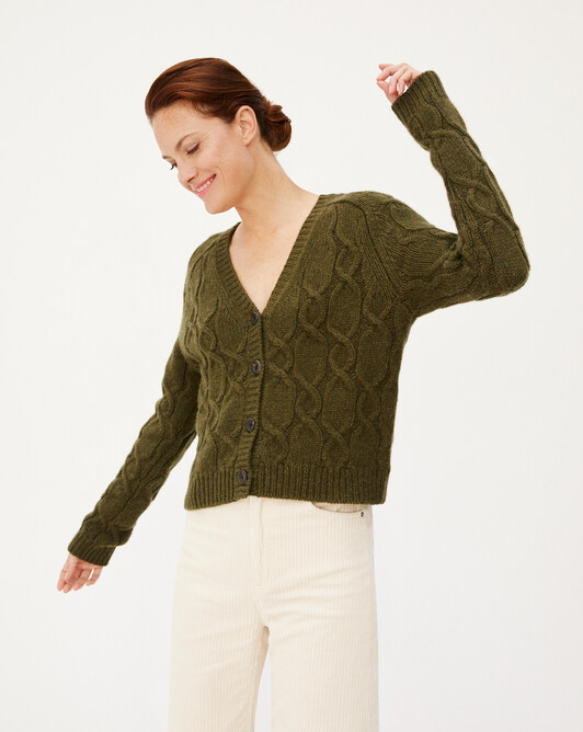 Alpaca/cashmere cable stitch short cardigan - Kale