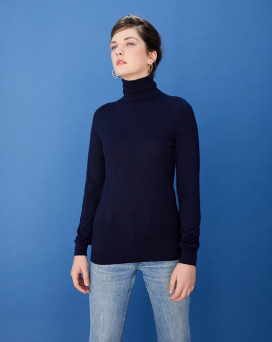 Contemporary extrafine roll-neck pullover - Navy blue