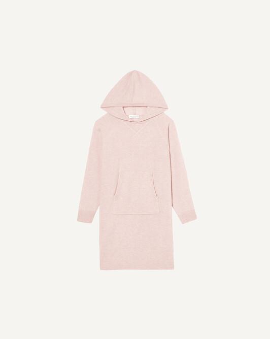 Casual hooded dress - Soft pink melange