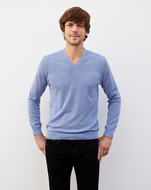 Contemporary extrafine V-neck pullover - Denim blue