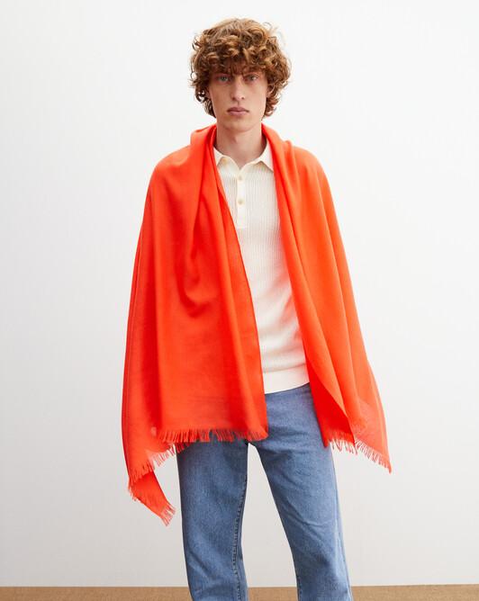 Cashmere voile stole 180 cm x 85 cm - Tan orange