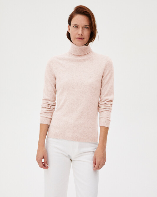 Fitted roll-neck - Soft pink melange