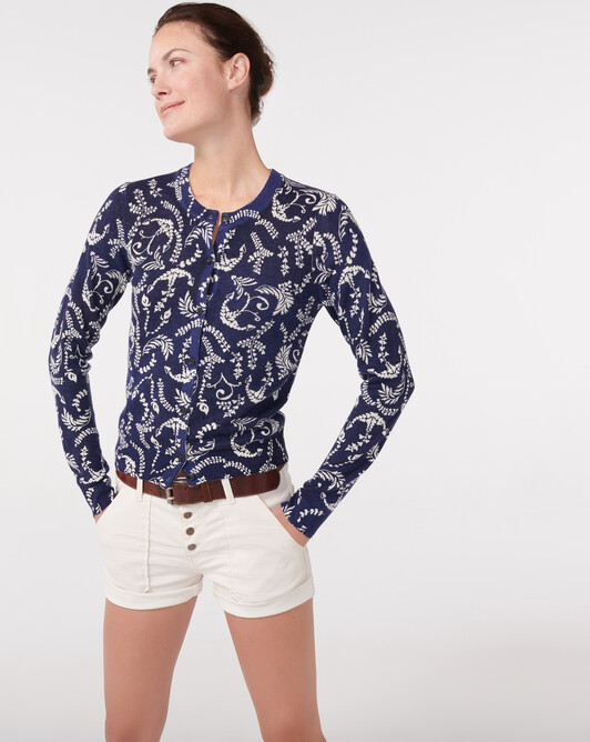 Floral anchors cardigan - Navy blue