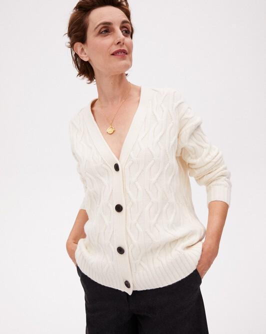 Geometric cable-stitch cardigan - Autumn white