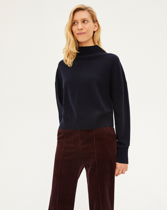 Cashmere wool Must-Have roll-neck sweater - Navy blue