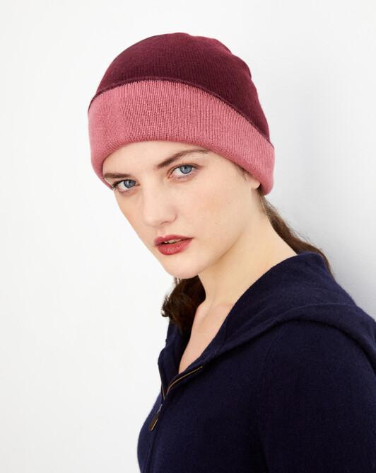 Bonnet déjaugé bicolore - Azuki/bois de rose