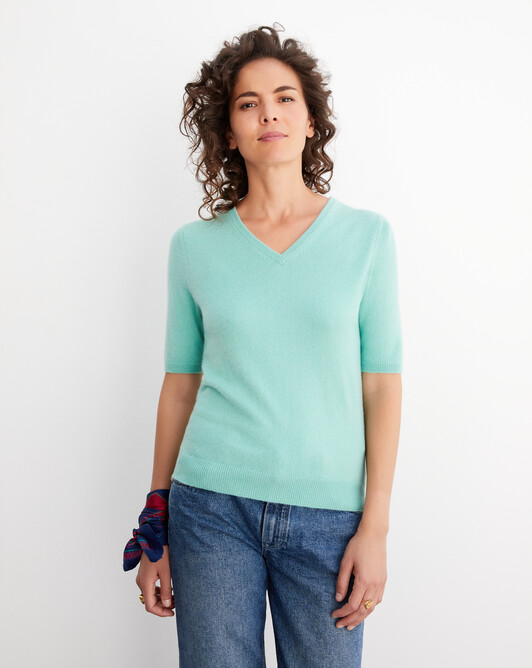 Pull V manches courtes intemporel - Menthe glacee