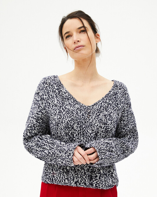 Maxi cable stitch marl v-neck sweater - Navy blue/autumn white marled