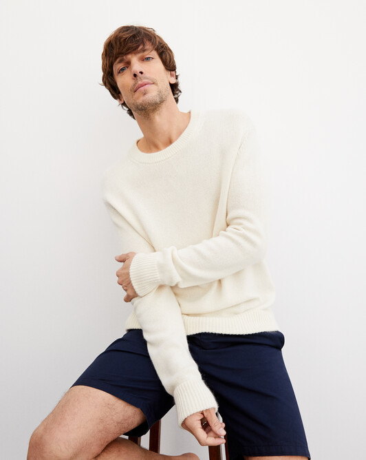 Double ribbed edging crew neck pullover - Autumn white