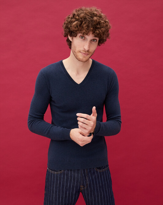 Fitted V-neck pullover - Graphite blue