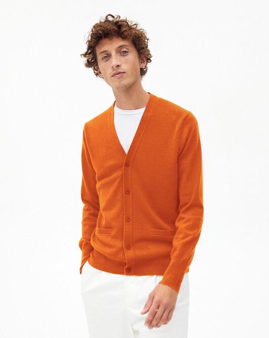 Classic V-neck cardigan - Saffron