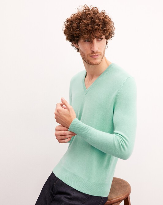 Pull V classique - Menthe glacee