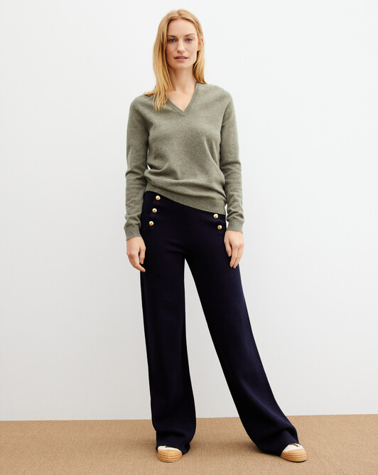 Classic V-neck pullover - Khaki