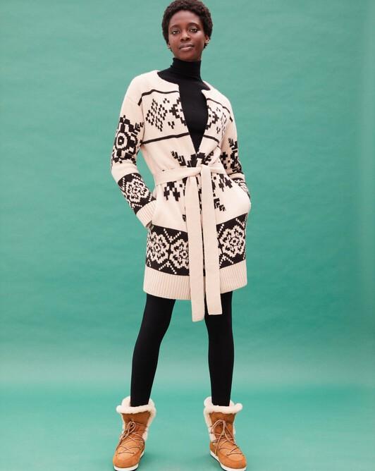 Norwegian jacquard belted crew neck coat - Nougat/ebony