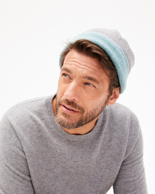 Two-colour off-gauge hat - Flannel grey/spruce