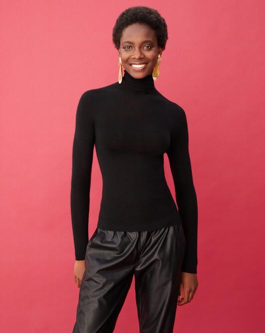 Col roulé ultrafin sans couture - Noir