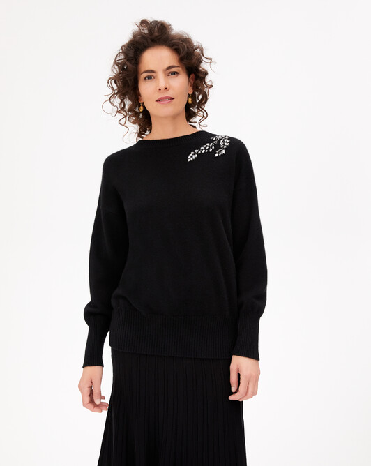 Pull V dos patch broderies crystal - Noir