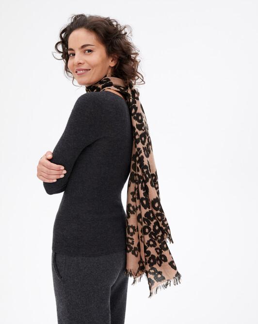 Ikat leopard print stole 180 cm x 85 cm - Camel