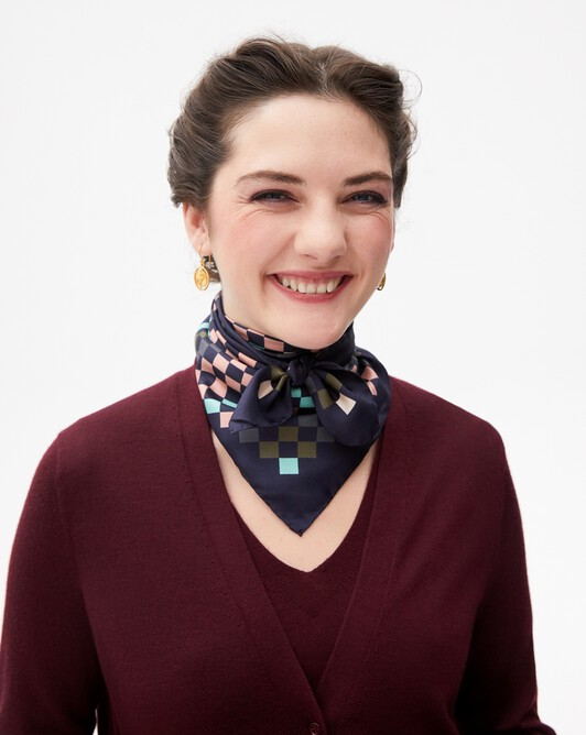 Multicoloured diamond print silk square scarf 65 cm x 65 cm - Navy blue