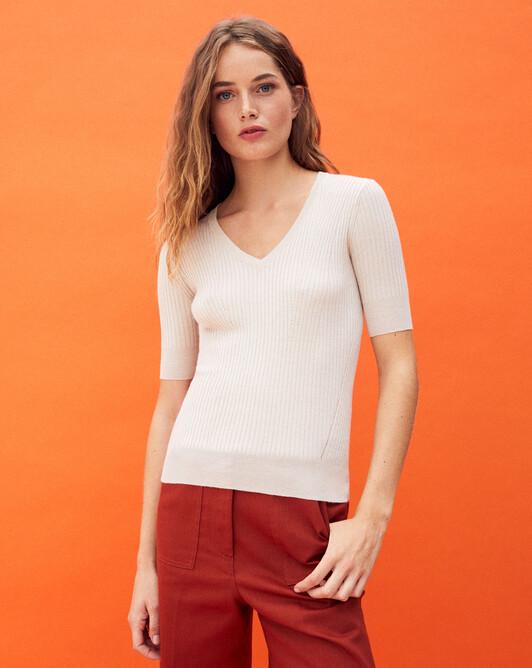 Short-sleeved metalliic v-neck sweater - Champagne