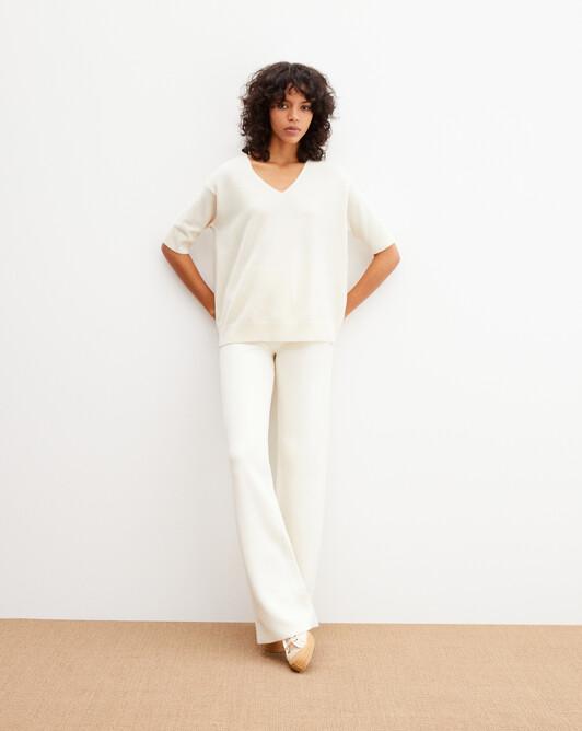Contemporary short-sleeved maxi V-neck - Autumn white
