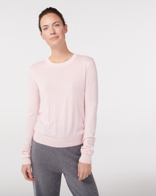 Extrafine fitted cashmere / organic cotton crew neck sweater - Soft pink melange