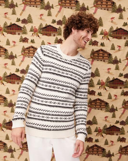 Norwegian jacquard crew neck pullover - Autumn white/ebony