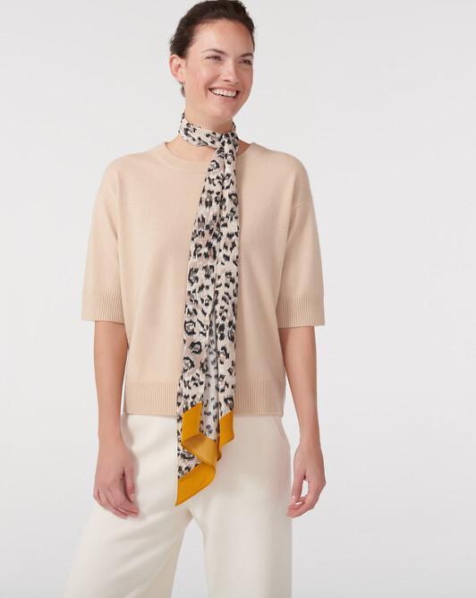 Maxi cravate soie léopard - Multicoloris
