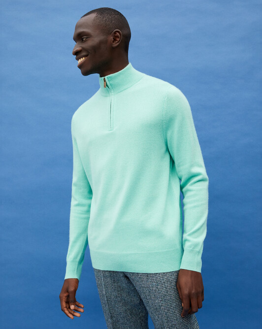 2-ply half-zip pullover - Ice mint