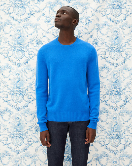 4-ply crew neck pullover - Cobalt