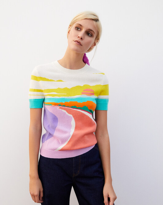 Ras de cou manches courtes intarsia plage - Multicoloris