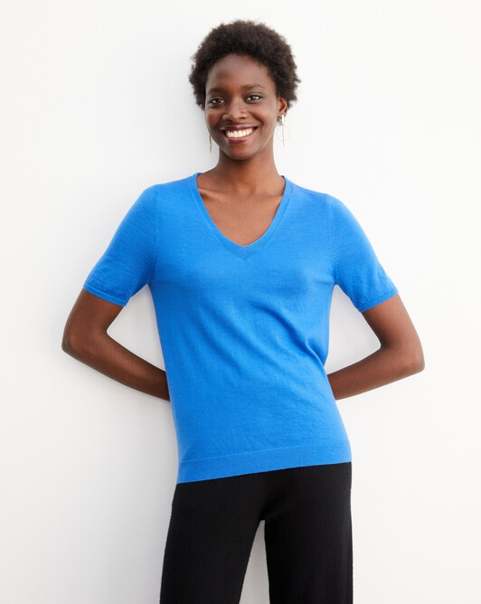 Contemporary extrafine short-sleeved V-neck - Cobalt