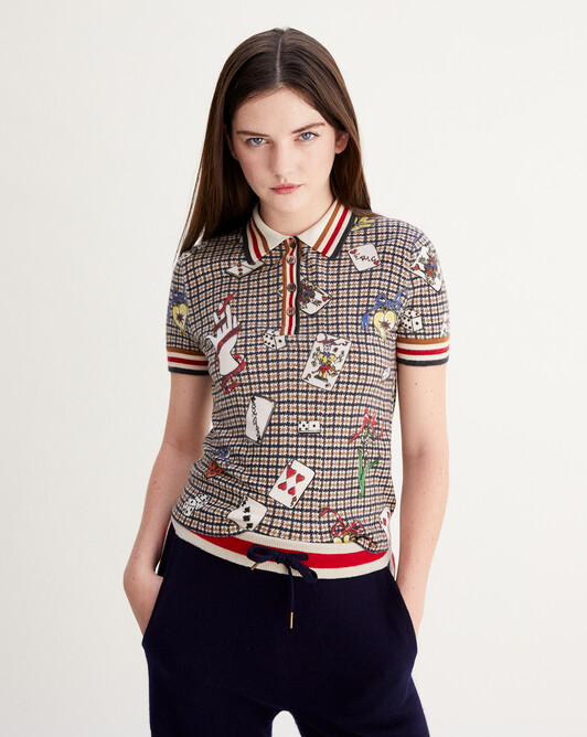 Houndstooth print short-sleeved polo - Tobacco