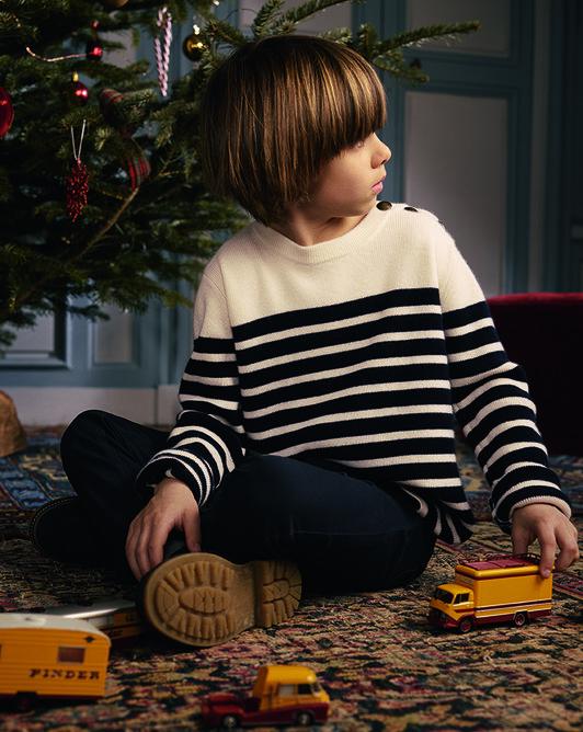 Button tab striped crew neck sweater - Autumnwhite/navy blue