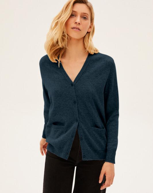 Short-sleeved silk v-neck sweater - Graphite blue