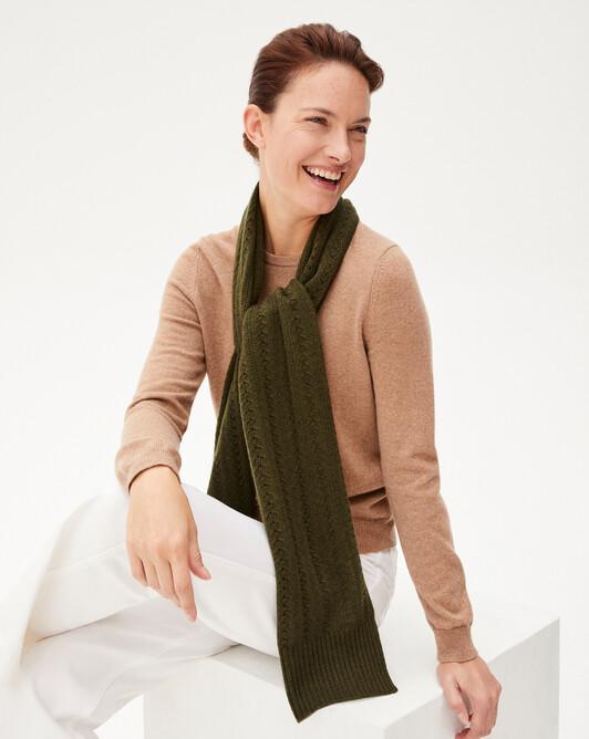 Heart pointelle scarf 180 x 32 cm - Kale