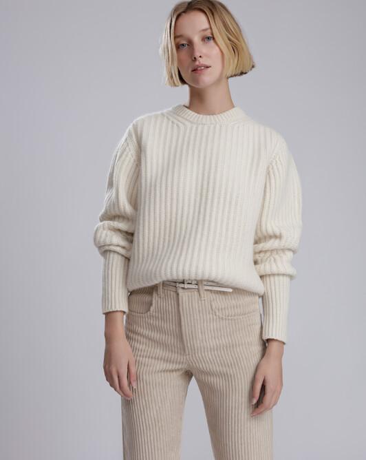 Ras de cou tricoté en côtes perlées - Ecru