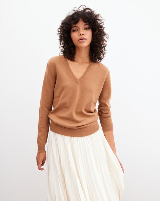 Classic V-neck pullover - Vicuna