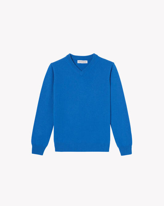 Kids classic V-neck sweater - French blue