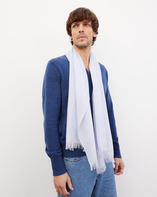 Cashmere voile scarf 150 cm x 55 cm - Sky blue
