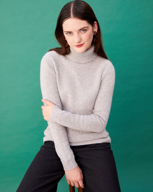 6-ply roll-neck - Frost grey
