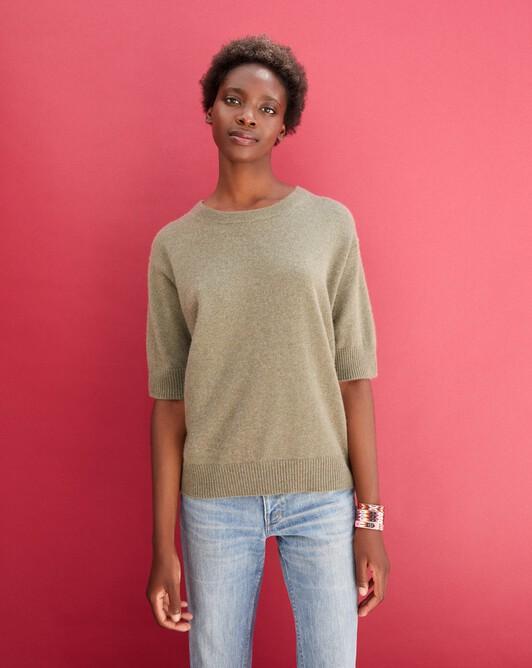 Contemporary short-sleeved maxi crew neck pullover - Khaki